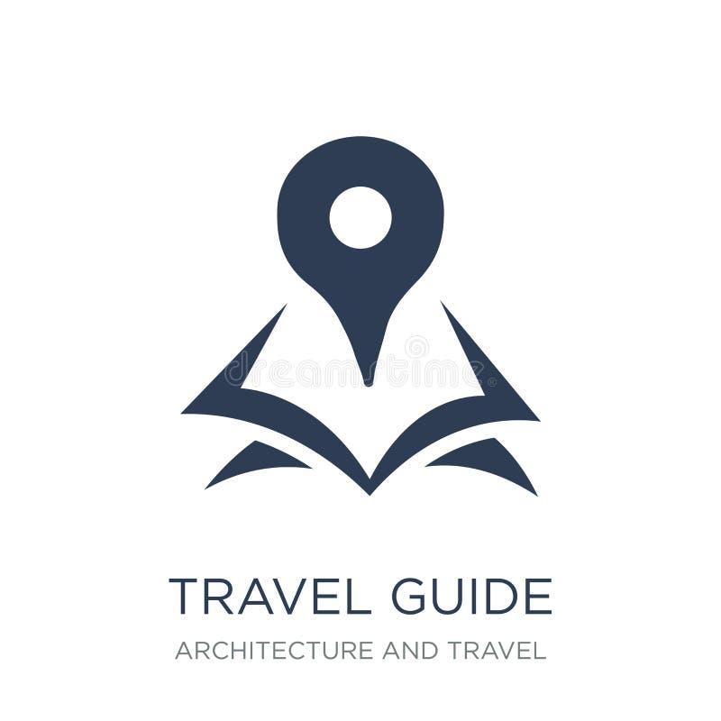Icône de guide de voyage Icône plate à la mode de guide de voyage de vecteur sur le blanc illustration libre de droits