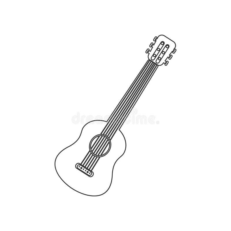 Icône de guitare Élément de zoo pour le concept et l'icône mobiles d'applis de Web Contour, ligne mince icône pour la conception  illustration de vecteur
