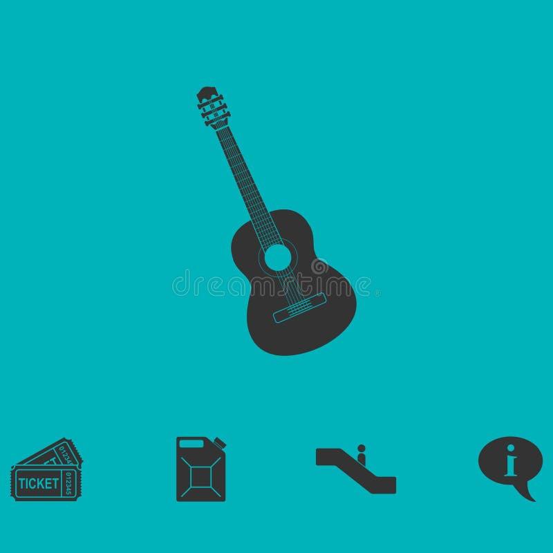 Icône de guitare acoustique à plat illustration stock