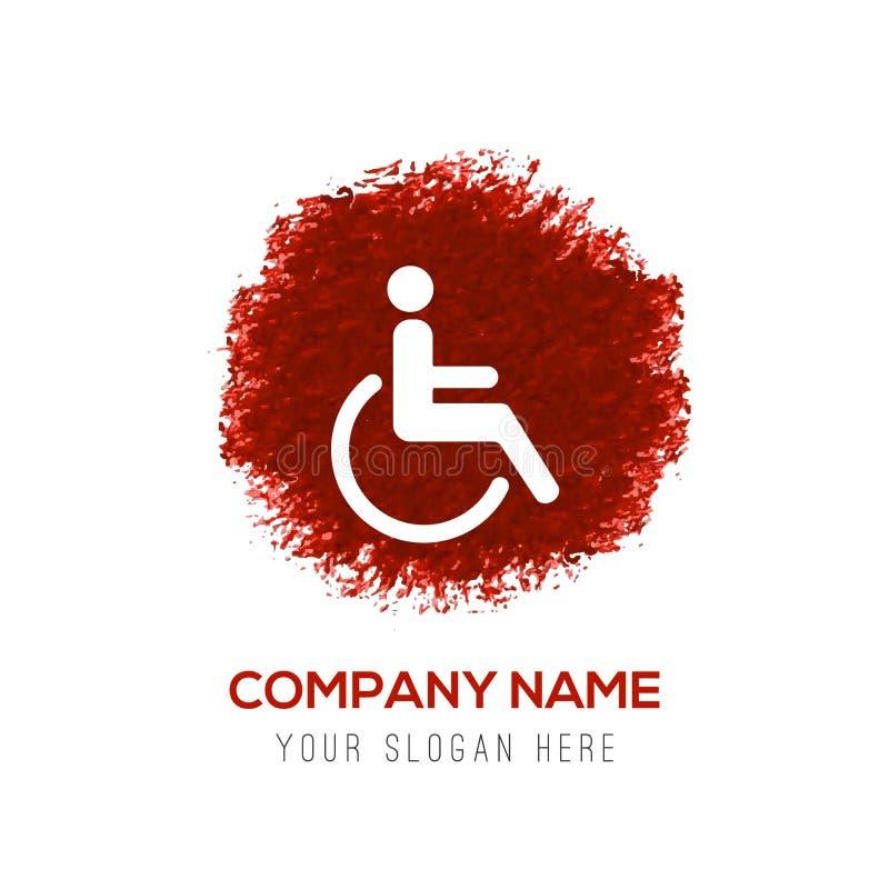 Icône de handicapé - éclaboussure rouge de cercle d'aquarelle illustration stock