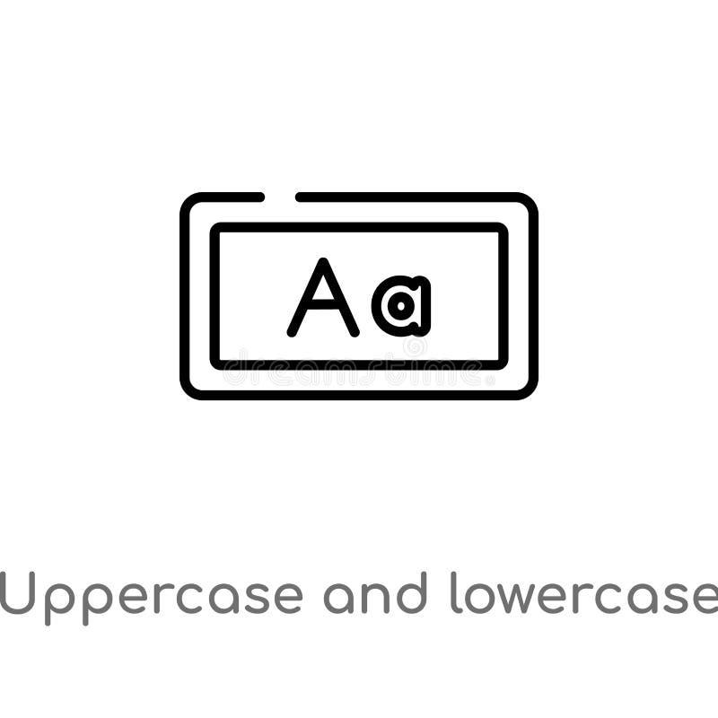 icône de haut de casse d'ensemble et de vecteur de lettre minuscule ligne simple noire d'isolement illustration d'élément de conc illustration libre de droits