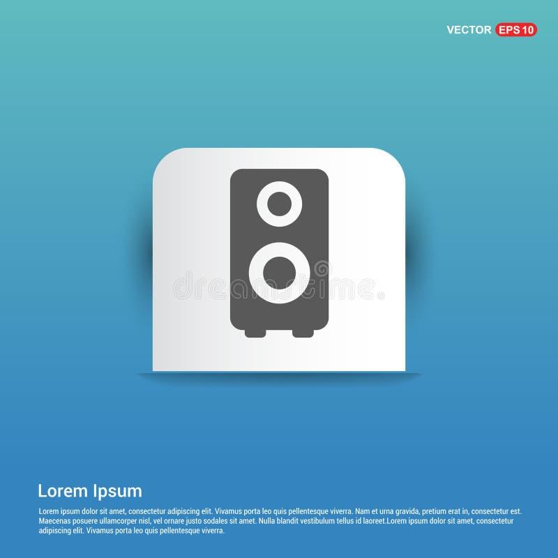 icône de haut-parleur - bouton bleu d'autocollant illustration stock