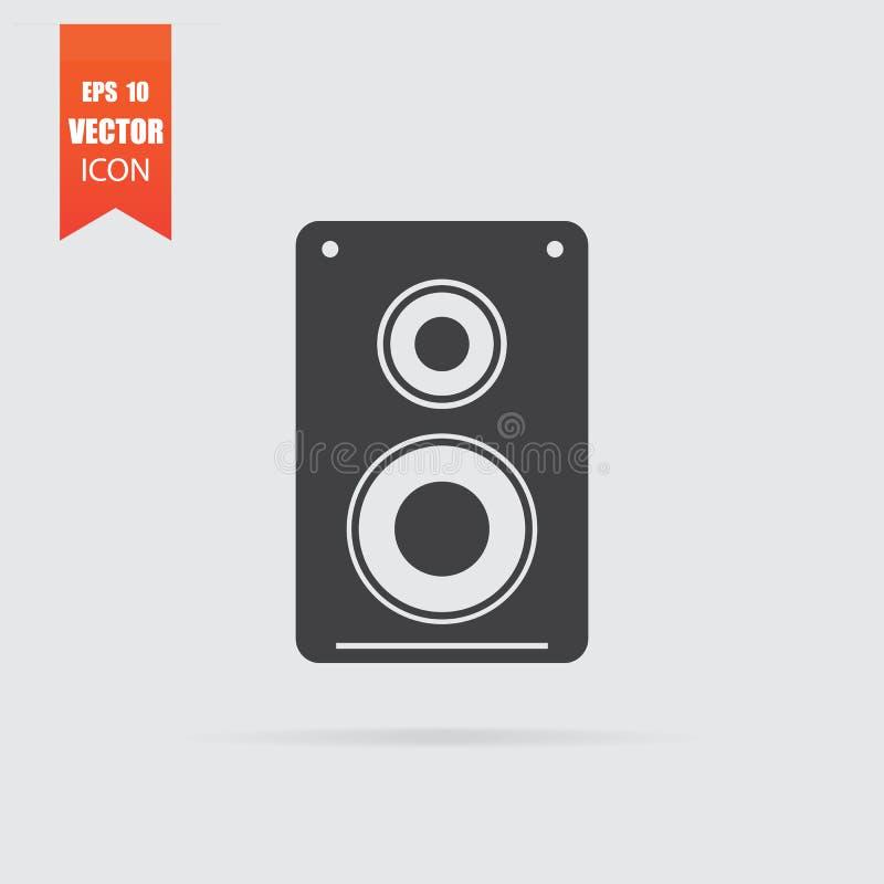 Icône de haut-parleur dans le style plat d'isolement sur le fond gris illustration libre de droits