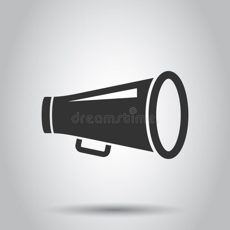 Icône de haut-parleur de mégaphone dans le style plat Illustration audio de vecteur d'annonce de corne de brume sur le fond blanc illustration stock