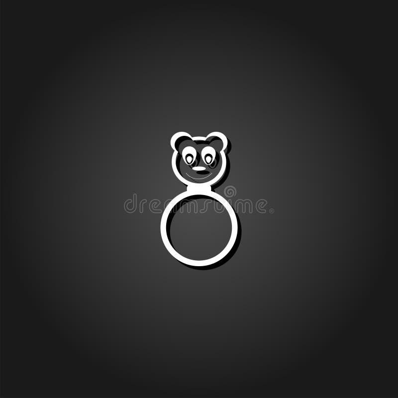 Icône de hochet de panda plate illustration libre de droits