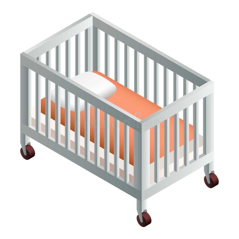 Icône de huche de bébé, style isométrique illustration stock