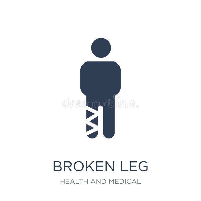 Icône de jambe cassée Icône plate à la mode de jambe cassée de vecteur sur le CCB blanc illustration stock