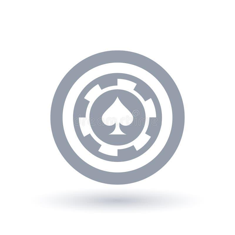 Icône de jeton de poker Symbole de marque d'as de pique illustration stock