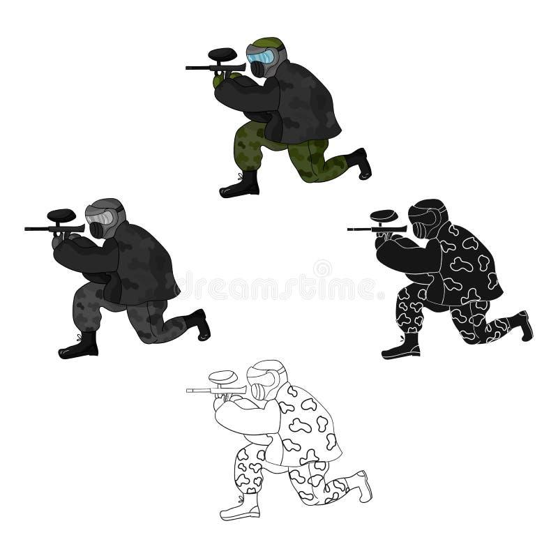 Icône de joueur de Paintball dans la bande dessinée, style noir d'isolement sur le fond blanc Illustration de vecteur d'actions d illustration de vecteur