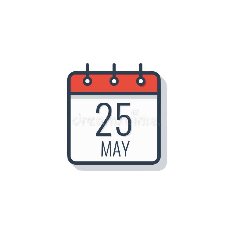Icône de jour civil d'isolement sur le fond blanc 25 mai illustration de vecteur