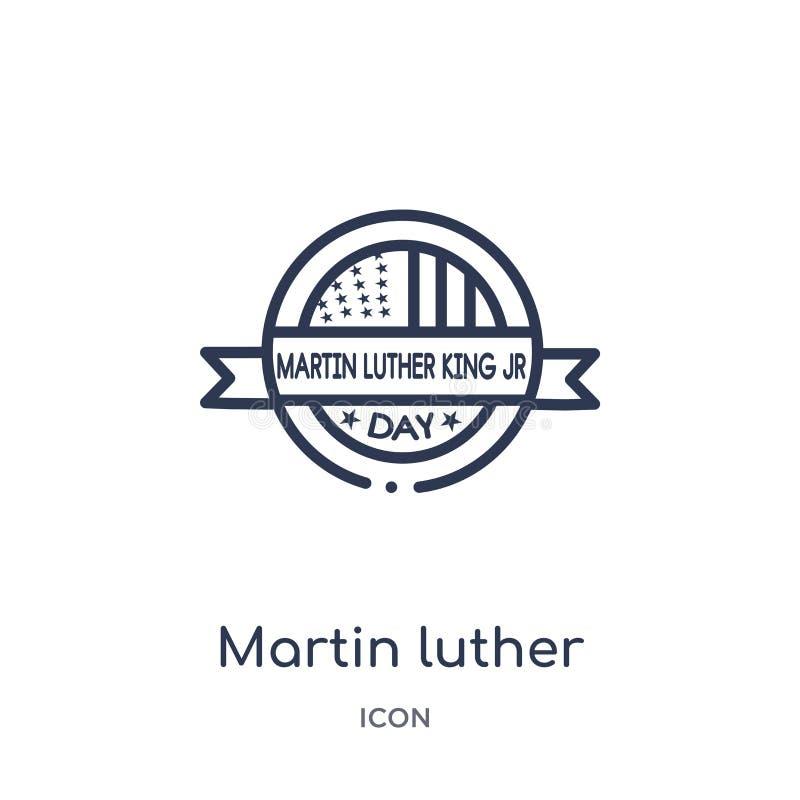icône de jour de Martin Luther King de collection d'ensemble des Etats-Unis d'Amérique Ligne mince icône de jour de Martin Luther illustration stock
