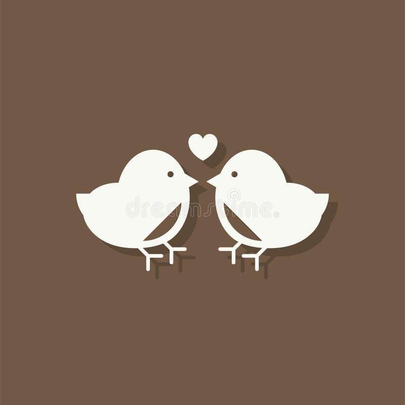 Icône de jour de valentines d'oiseaux d'amour illustration de vecteur