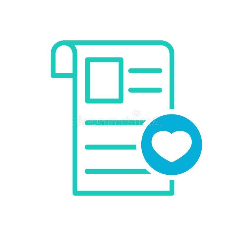 Icône de journal, événements actuels, icône d'actualités avec le signe de coeur Icône et favori de journal, comme, amour, symbole illustration libre de droits
