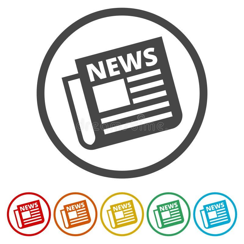 Icône de journal, icône d'actualités, 6 couleurs incluses illustration de vecteur