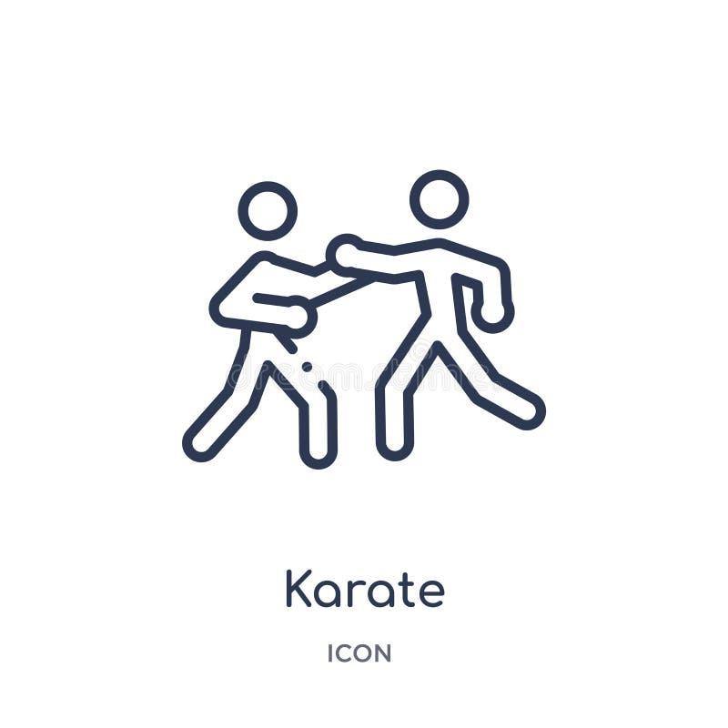 Icône de karaté de collection d'ensemble de Jeux Olympiques Ligne mince icône de karaté d'isolement sur le fond blanc illustration stock