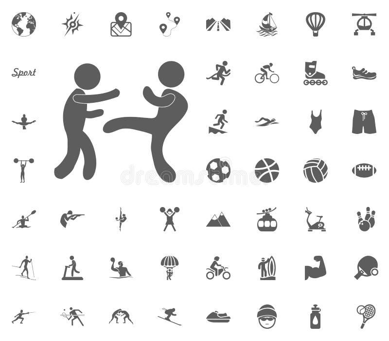 Icône de karaté Icônes réglées de vecteur d'illustration de sport Ensemble de 48 icônes de sport illustration de vecteur