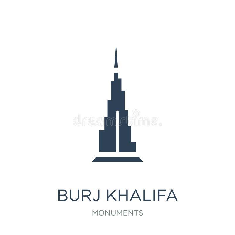 icône de khalifa de burj dans le style à la mode de conception icône de khalifa de burj d'isolement sur le fond blanc icône de ve illustration libre de droits
