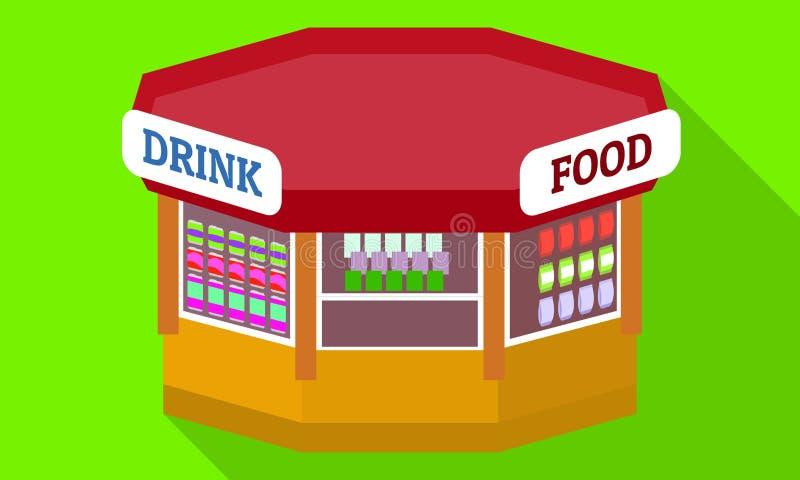 Icône de kiosque de nourriture de boissons, style plat illustration libre de droits