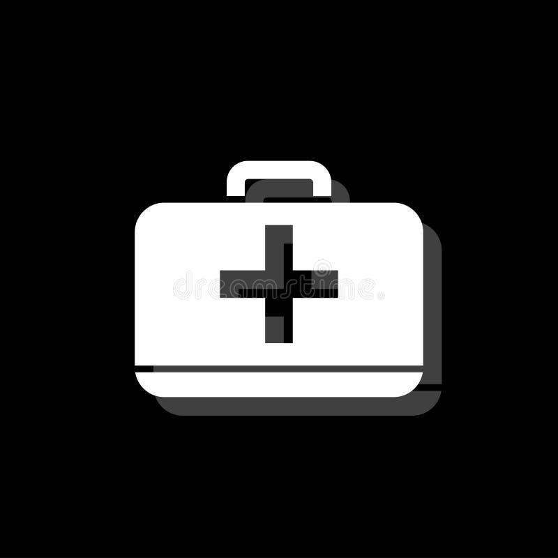 Icône de kit de premiers secours plate illustration stock