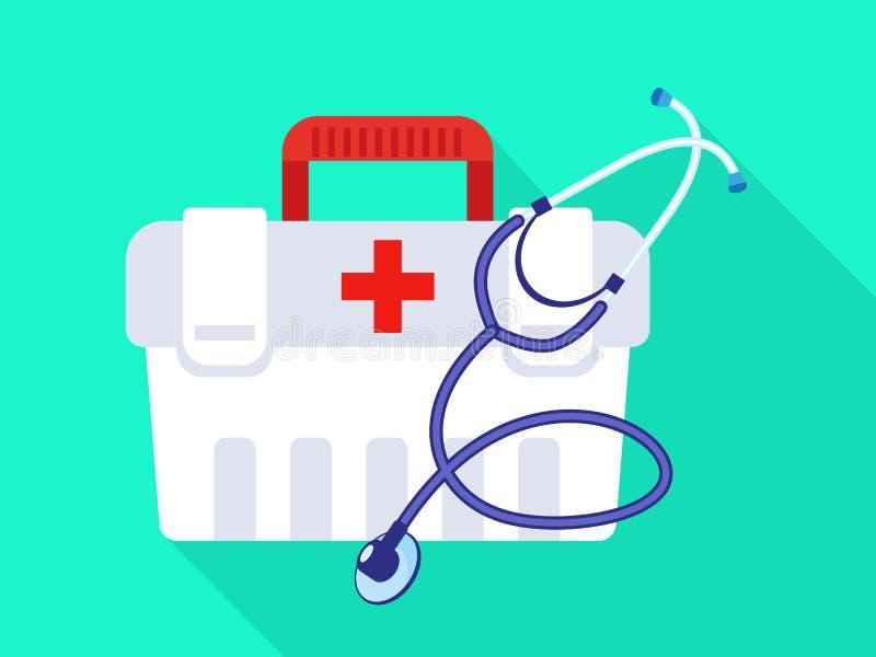Icône de kit de premiers secours de stéthoscope, style plat illustration libre de droits