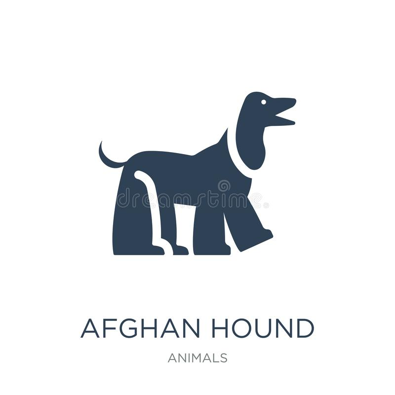 icône de lévrier afghan dans le style à la mode de conception icône de lévrier afghan d'isolement sur le fond blanc icône de vect illustration libre de droits