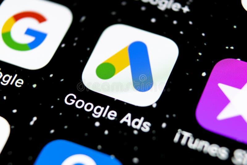 Icône de l'application AdWords de Google Ads sur l'écran Apple iPhone X Icône des mots d'annonce Google Application de mots d'ajo photos libres de droits
