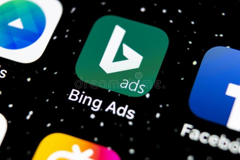 Icône de l'application Bing sur l'écran Apple iPhone X Icône de l'application Bing ads Bing ads est une application de publicité  images stock