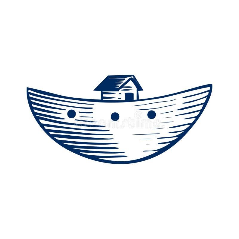 Icône de l'arche en bois du ` s de Noé Illustration biblique illustration de vecteur