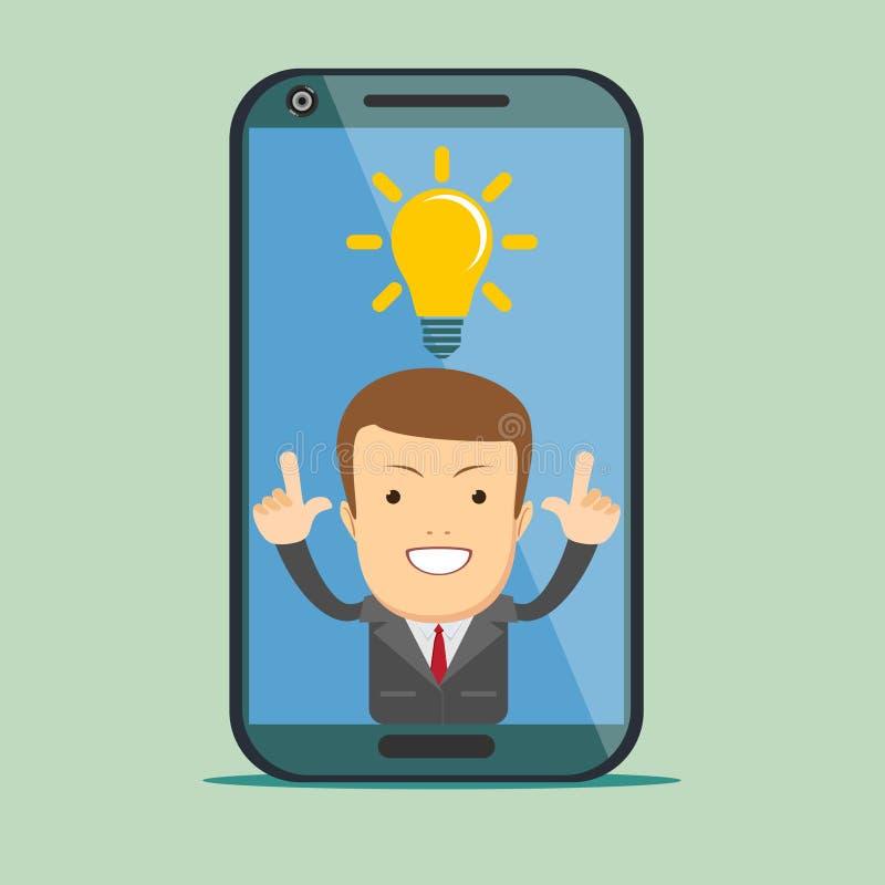 Icône de l'homme APP sur l'affichage de smartphone dans le style plat illustration de vecteur
