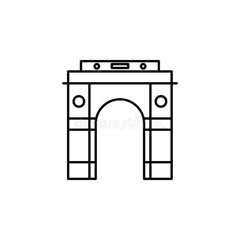 Icône de l'Inde, Mumbai Élément d'icône de culture de l'Inde Ligne mince icône pour la conception de site Web et le développement illustration libre de droits