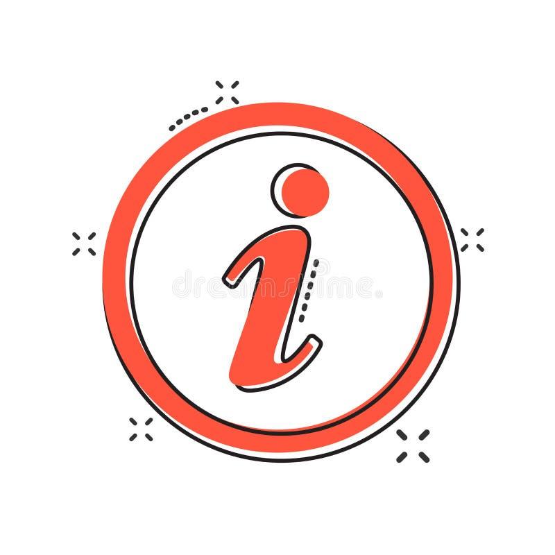 Icône de l'information de bande dessinée de vecteur dans le style comique Illu de signe de la parole illustration libre de droits