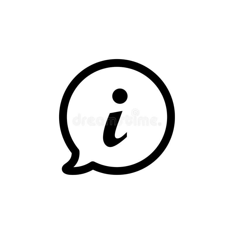 Icône de l'information dans le style plat, symbole d'infos illustration stock