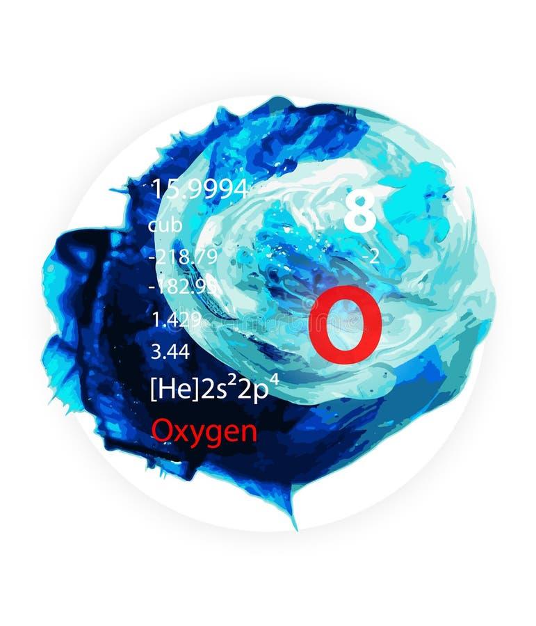 Icône de l'oxygène - peinture d'aquarelle - style d'insigne illustration libre de droits