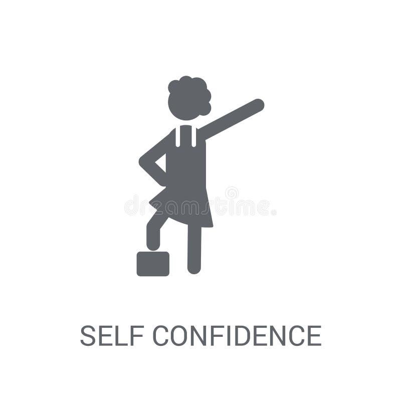 Icône de la confiance en soi Concept à la mode de logo de la confiance en soi sur le whi illustration stock