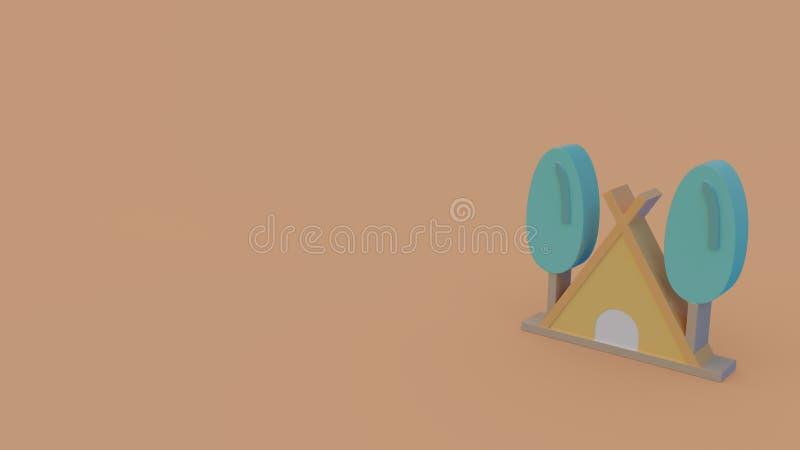 Icône de la couleur 3d de tente d'isolement sur le fond orange illustration de vecteur