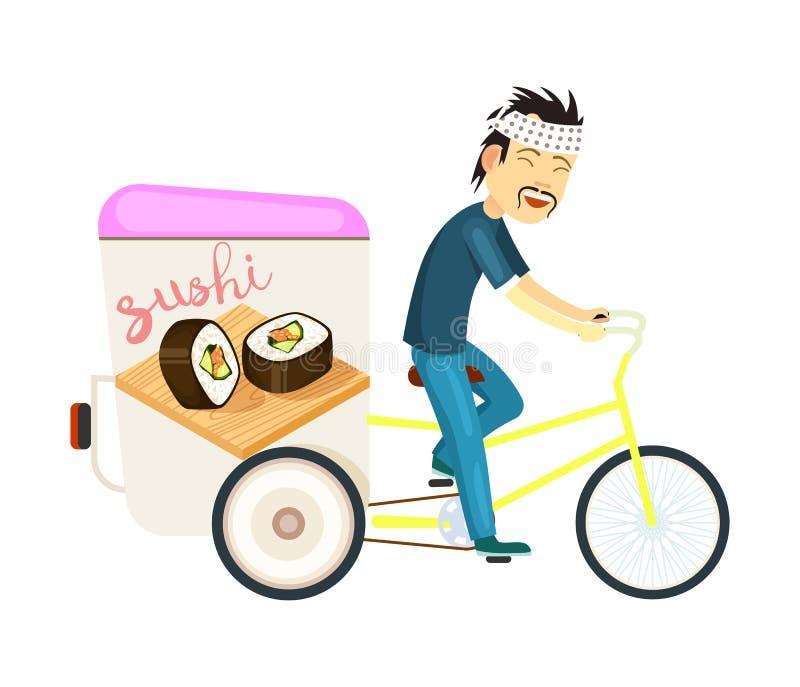 Icône de la livraison de petit pain de sushi avec l'homme asiatique de messager illustration libre de droits
