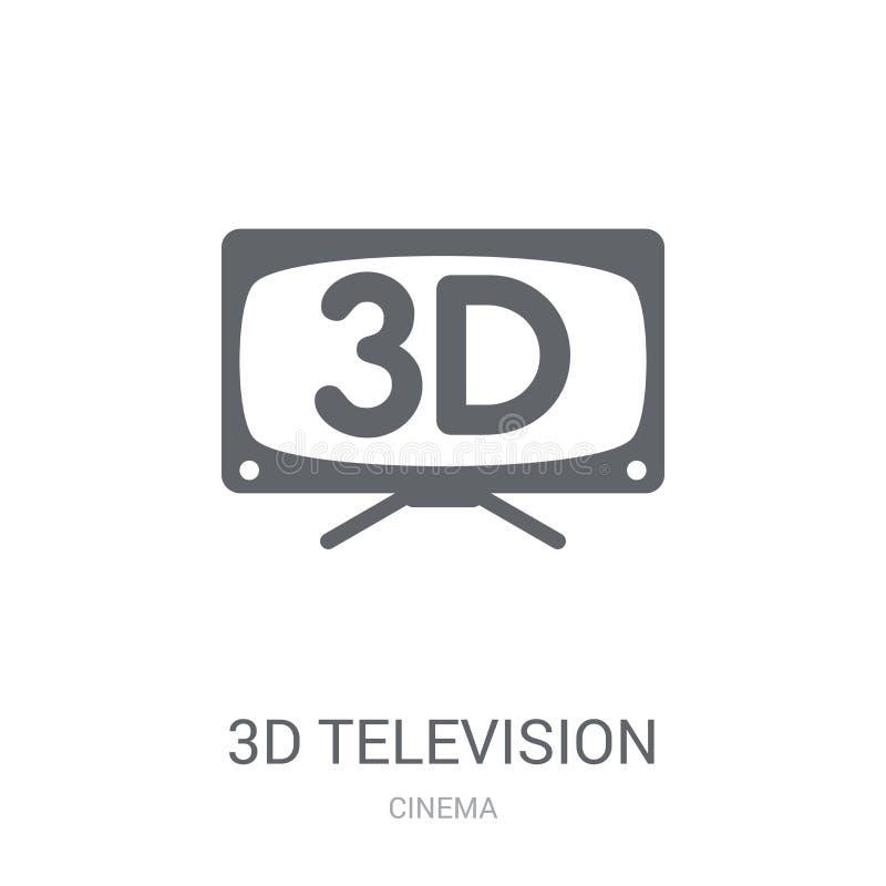 icône de la télévision 3D Concept à la mode de logo de la télévision 3D sur b blanc illustration stock
