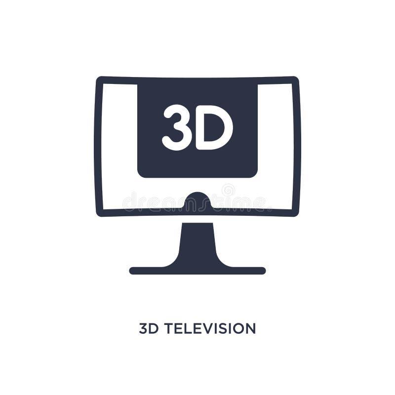 icône de la télévision 3d sur le fond blanc Illustration simple d'élément de concept de cinéma illustration de vecteur