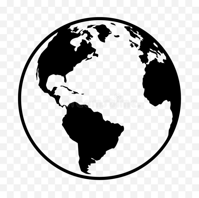 Icône de la terre, symbole de globe illustration stock