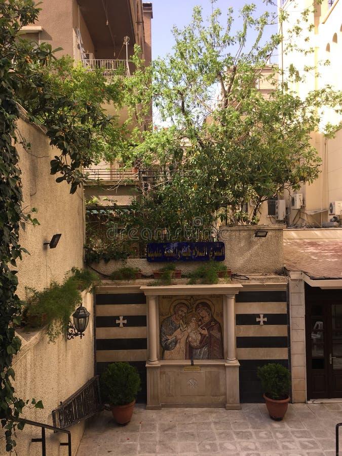 Icône de la Vierge de l'église à Damas image stock