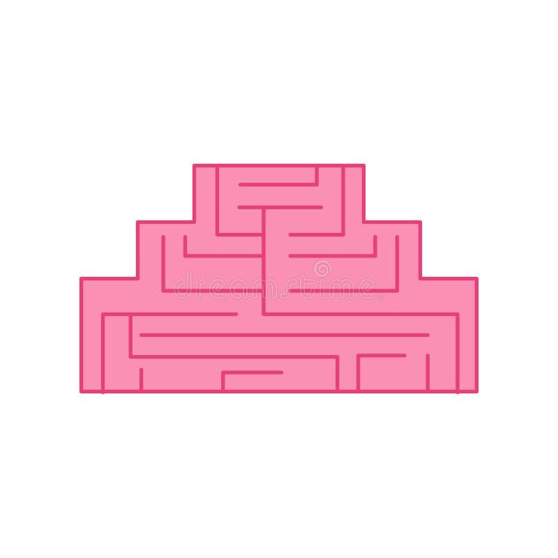 Icône de labyrinthe de la géométrie de cerveau cerveaux de places Vecteur illustration de vecteur