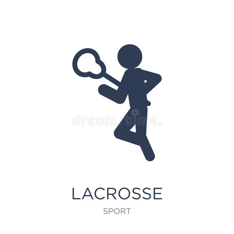 Icône de lacrosse Icône plate à la mode de lacrosse de vecteur sur le backgro blanc illustration libre de droits