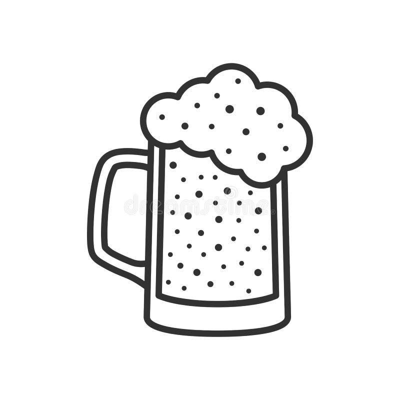 Icône de Lager Beer Glass Outline Flat sur le blanc illustration libre de droits