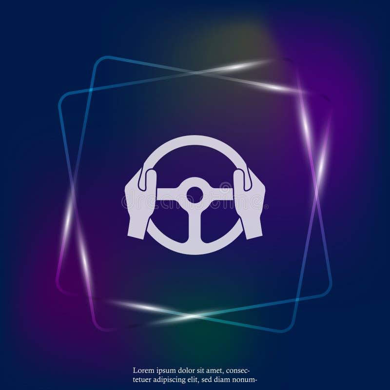 Icône de lampe au néon de vecteur des mains de volant et de conducteur de voiture illustration stock