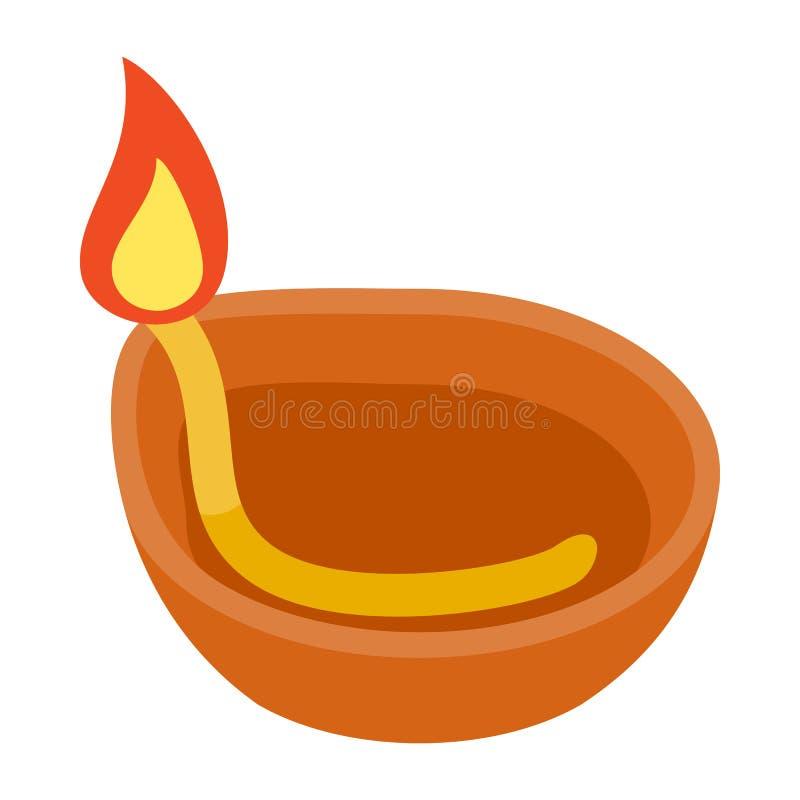 Icône de lampe d'huile de noix de coco, style 3d isométrique illustration stock