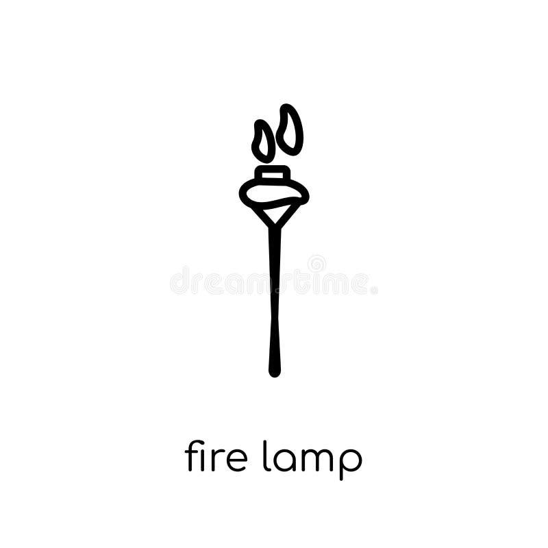 Icône de lampe du feu de la collection campante illustration stock