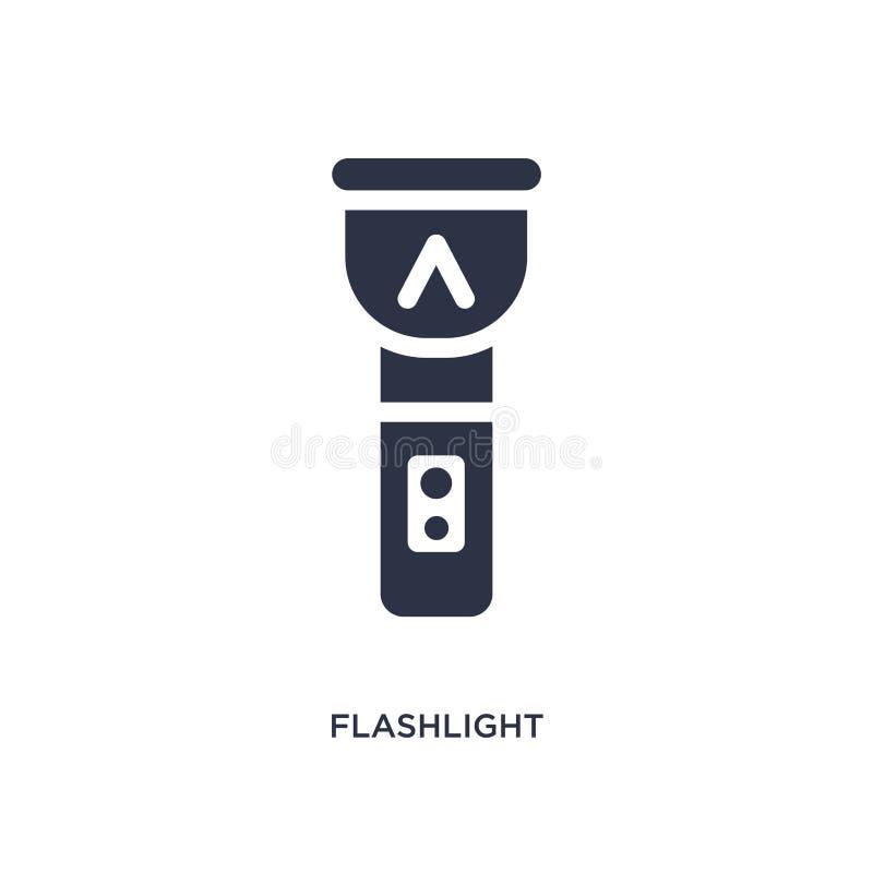Icône de lampe-torche sur le fond blanc Illustration simple d'élément de concept campant illustration de vecteur