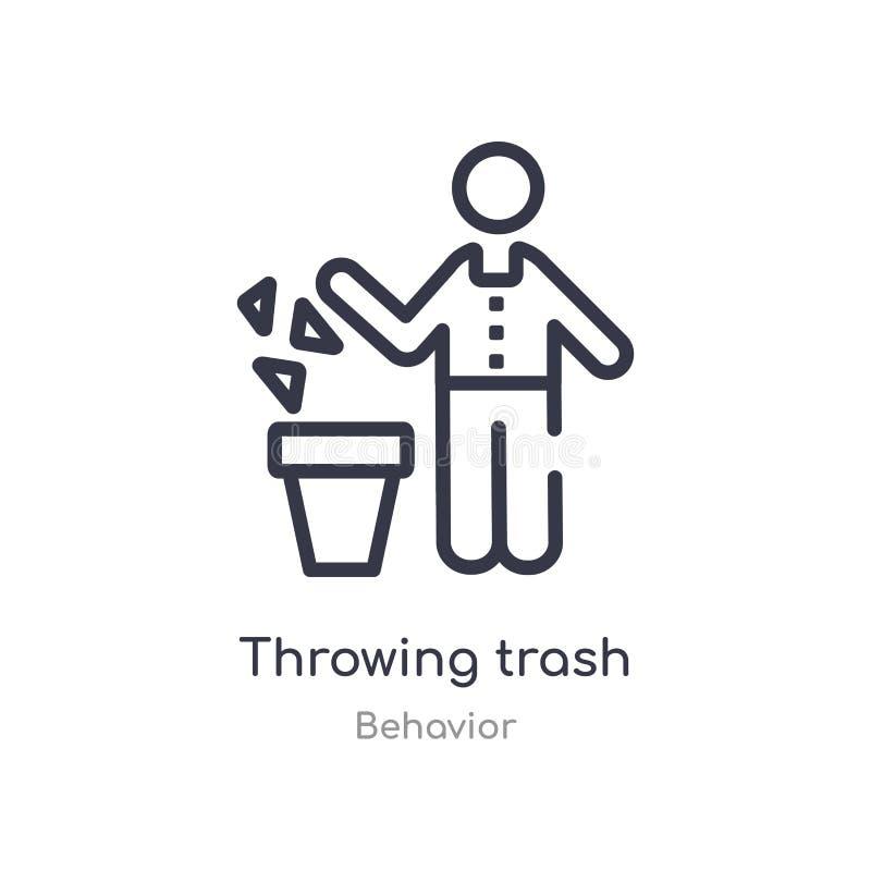 icône de lancement d'ensemble de déchets r icône de lancement de déchets de course mince editable illustration de vecteur
