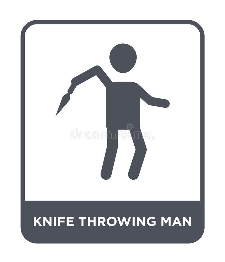 icône de lancement d'homme de couteau dans le style à la mode de conception icône de lancement d'homme de couteau d'isolement sur illustration libre de droits