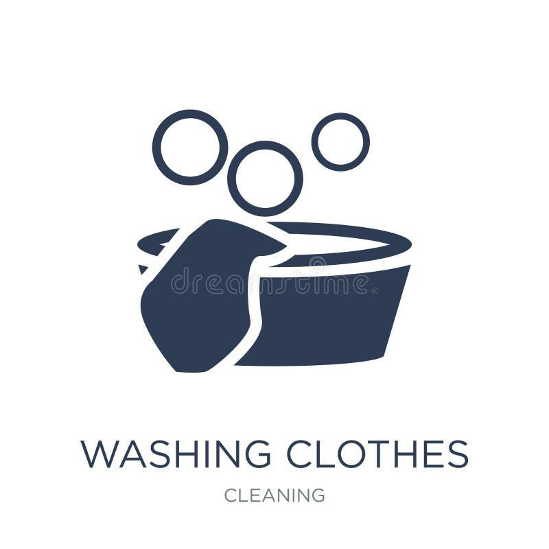 Icône de lavage de vêtements Icône de lavage de vêtements de vecteur plat à la mode dessus illustration libre de droits